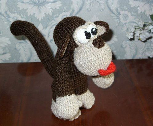 Вязанная крючком обезьянка своими руками